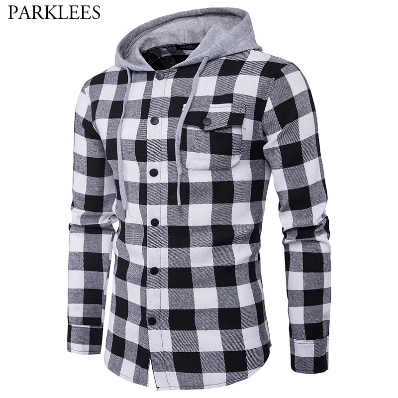 Men's Checkered Long Sleeve Hooded Shirt 2018 Autumn New Slim Fit Hoodies Shirts Men Casual Pocket Button Front Chemise Homme