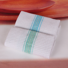 4pcs QF119 100% cotton packed Restaurant kitchen washroom The stripes towel cleaning cloth 35x35