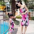 2016 Мода Соответствия Мать Дочь Платья Мама и Девочка Летнее Платье Пляж платье Родитель-ребенок наряд модная одежда Фиолетовый