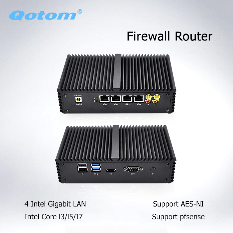Qotom Mini PC Core I5 I7 4 Lan Fanless Micro Computer Linux Dual Core ASE-NI Industrial PFsense Firewall Router Mini Computer