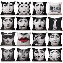 Pillowcase Fornasetti Art Beauty Face SKULL Custom Made Pillow Cover Black and White Pillow Case cotton