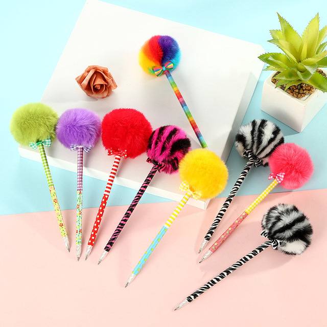 Creative Plush Pens Cute Ballpoint Pens Kawaii Ball Pens For Children Gifts School Office Supplies Korean Stationery 1