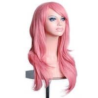 Soowee 70cm 12 Colors Wavy Pink Cosplay Wig Hairpiece Synthetic Hair Gray Pink Blonde Wigs for Black Women