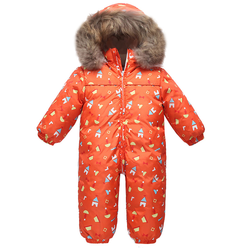 2019 Winter Girls Rompers Fur Hood Boys Jumpsuits Warm Infant Clothes Cotton Fleece Unisex Onsies Snow Infant Overalls
