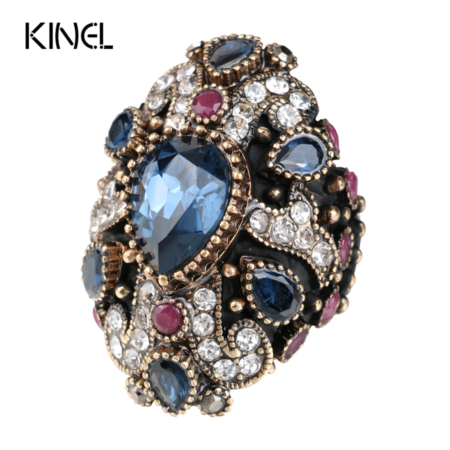New Unique Cross Vintage Wedding Rings For Women Red Crystal Color Antique Gold Party Cocktail Ring Punk Turkish Jewelery