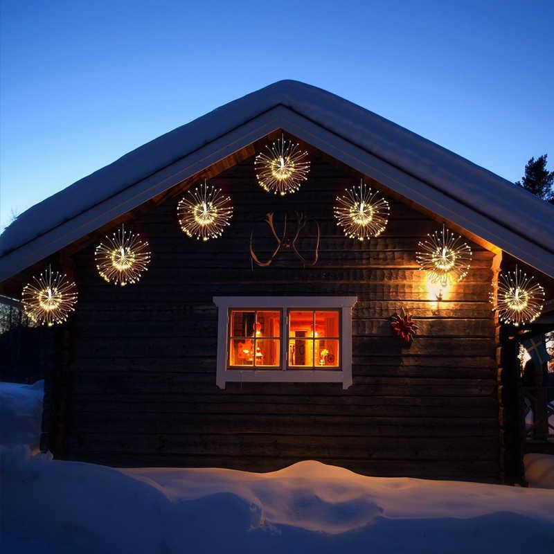 Подвесная гирлянда Starburst 100 светодиодов 200 светодиодов DIY фейерверк медная Фея гирлянда Рождественские огни наружные мерцающие огни