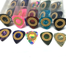 50 pcs/lot 0.71mm 0.96mm Celluloid Guitar Picks with Soft Wood Cushion Ring