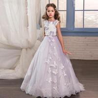 Customized High Quality Lavender 2018 Flower Girls Dresses with Butterfly Lace with Bow Kids Pageant Gowns for Little Girls