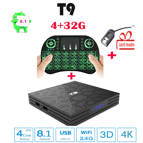 tv box android 8.1 T9 4GB 32GB RK3328 Quad Core android 8.1 box tv Bluetooth4.0 H2.65 4K Smart TV 2.4G WIFI Media Player PK MX10