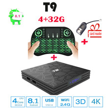 Tv box android 8.1 T9 4 GB 32 GB RK3328 Quad Core android 8.1 tv box Bluetooth4.0 H2.65 4 K smart TV 2.4G WIFI Media Player(China)