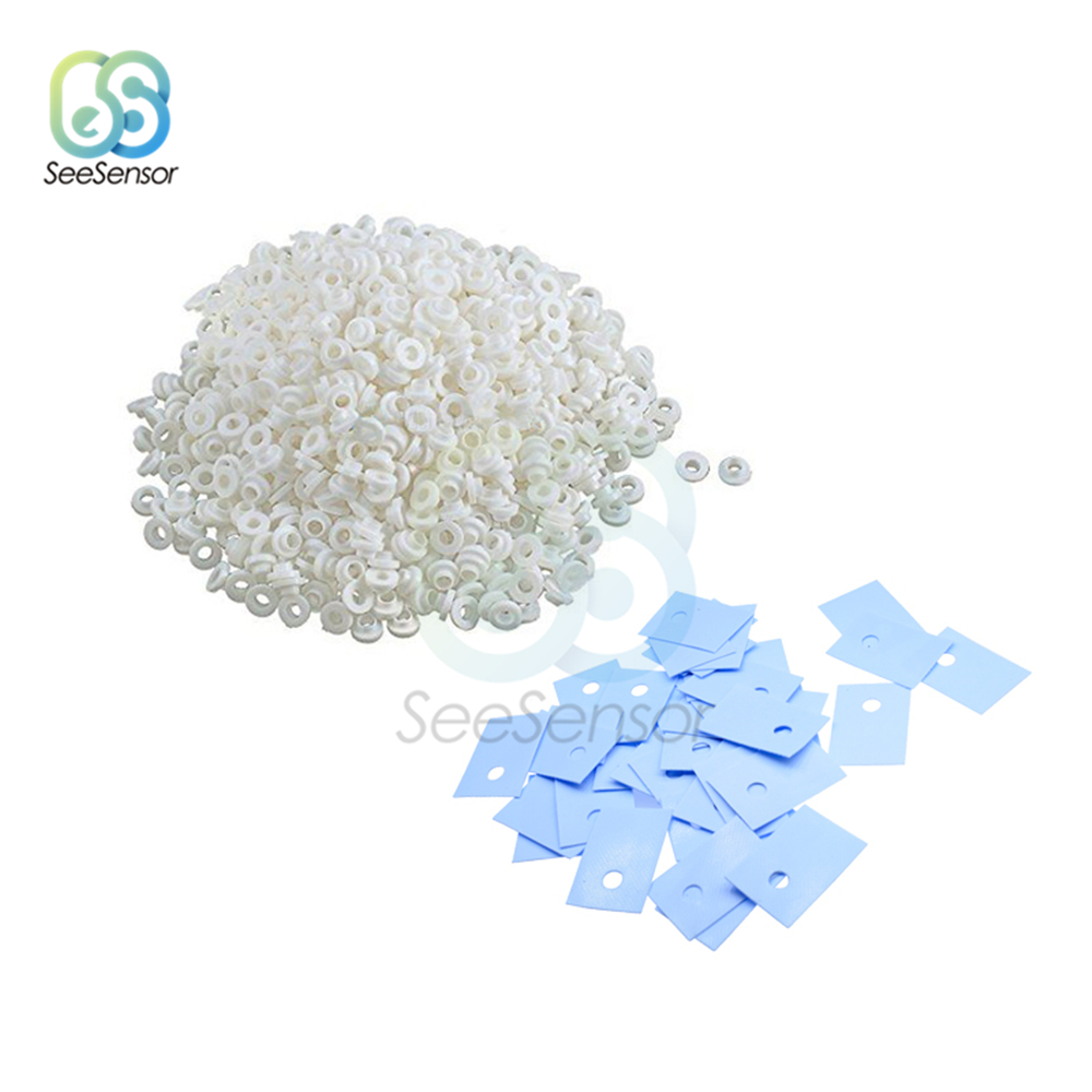 100Pcs TO-220 Transistor Plastic Washer Insulation Washer + TO-220 Pads Silicone image