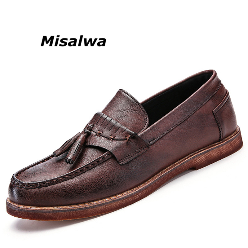 Misalwa 2018 Spring Autumn Leather Men Boat Shoes Tassel Slip On Casual Moccasins Shoes For Men Brown Black Driving Lazy Flats 2016 new winter men s casual shoes boat shoes for men black brown fur shoes lazy autumn large size shoes warm men in stock