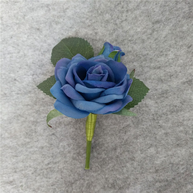 38262e076f00b Groom Boutonniere Artificial PU Rose Royal Blue Flower Best Man Wedding  Flowers Party Suit Decoration