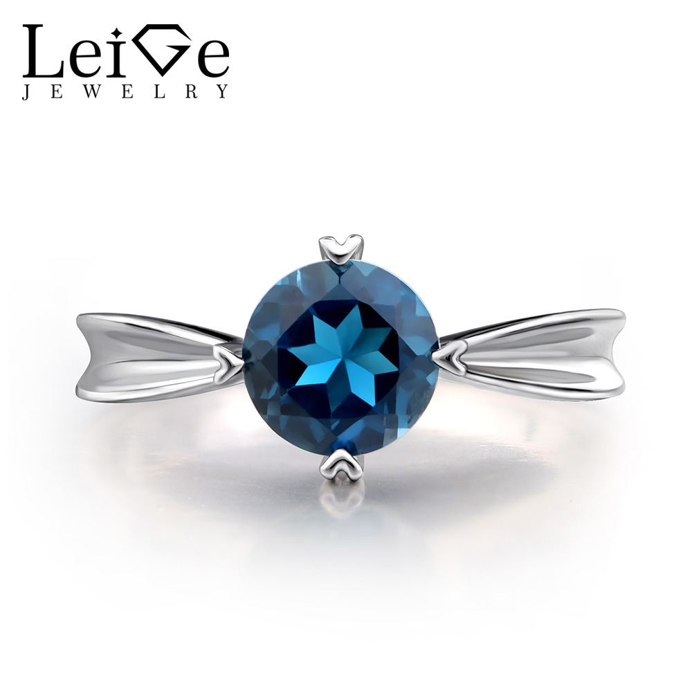 Leige Jewelry London Blue Topaz Ring for Women Silver 925 Fine Jewelry Blue Gemstone Engagement Promise Solitaire Rings leige jewelry swiss blue topaz ring oval shaped engagement promise rings for women 925 sterling silver blue gemstone jewelry