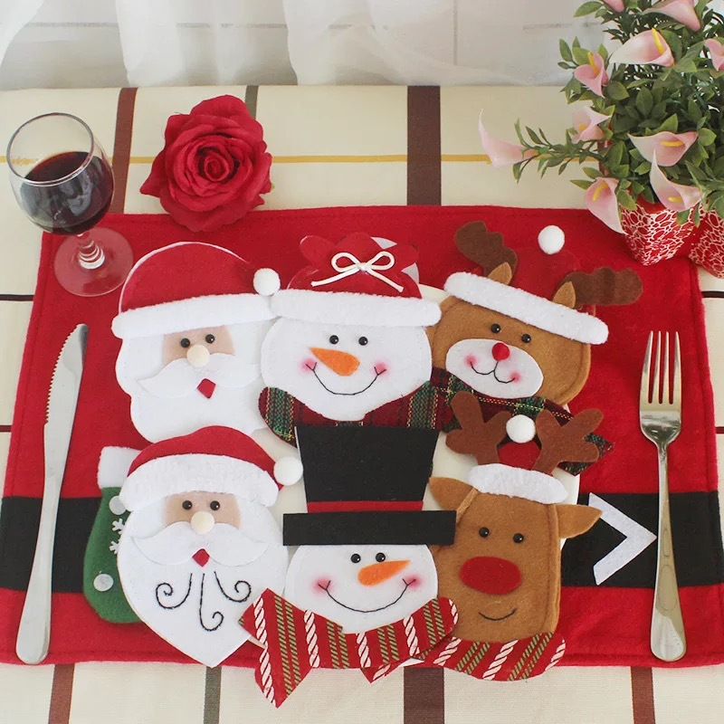 Misaya 1pc Tableware Decorate Gift Bags Novelty Snowman And Santa Claus Elk For Christmas Table Decorations Size 9.8*15.4cm