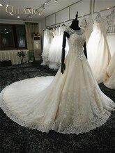 100% Gambar Nyata Wedding Dresses 2016 Tangan-Manik-manik kereta Panjang Bridal Gowns Appliques Backless Bridal Gown