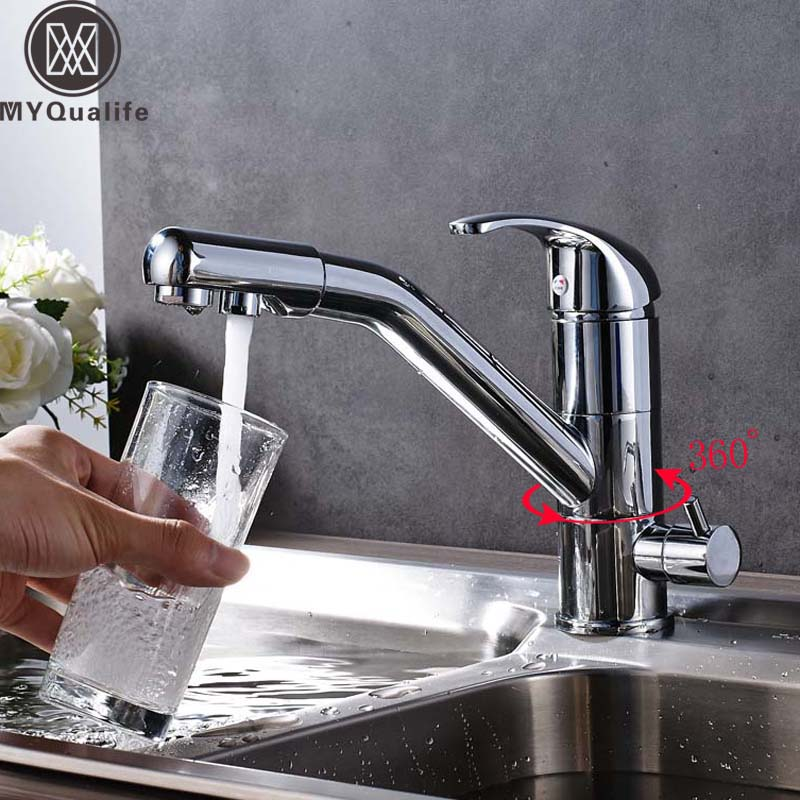 Bright Chrome Kitchen Faucet Deck Mounted Lavatory Sink Mixer Tap 360 Degree Rotation with Water Purification Spout