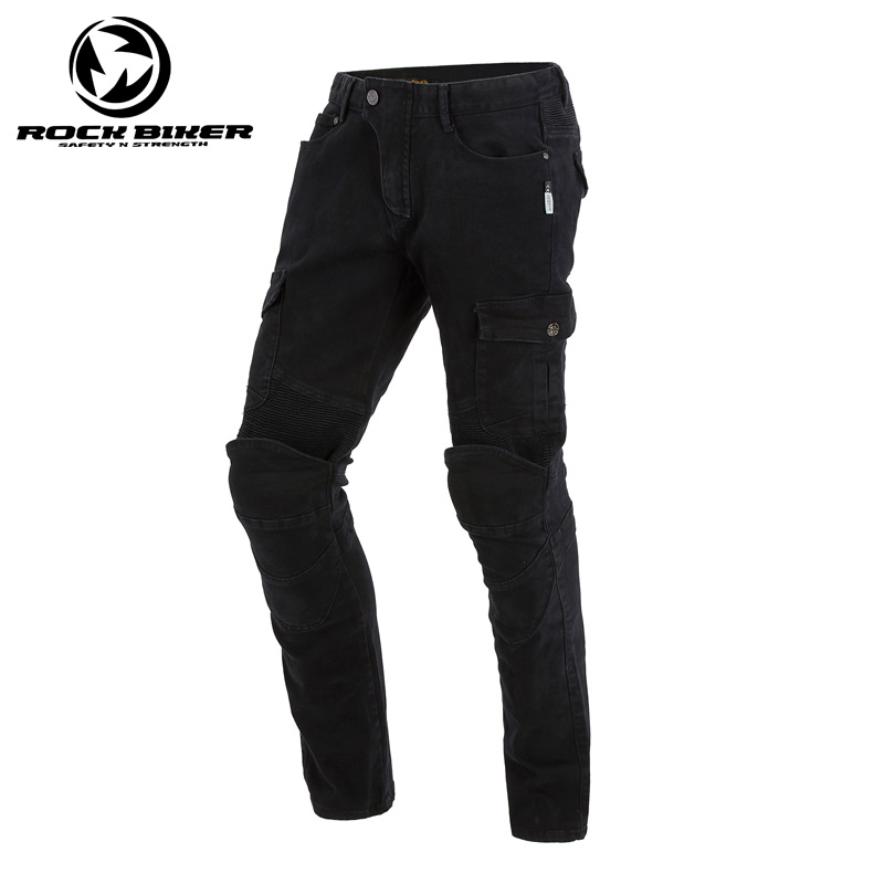 ROCK BIKER Mens Motorcycle pants Black Motorcycle jeans PANTS with CE approve knee Protective for BMW Komine Motorbike Pants