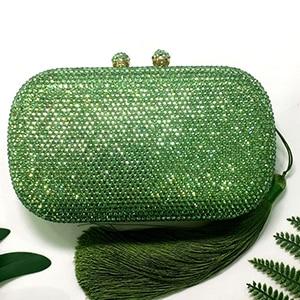 Plaid green Crystal Rhinestones Women Evening Clutch Bag Bridal Wedding Clutches Party Dinner Prom Chain Shoulder