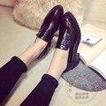 Обычный Новый Низкий Топ Британский Стиль Женская Обувь Плоская Платформа обувь на Плоской Подошве Женщин Стильный Свинья Кожа Чистый Цвет Печати кожа