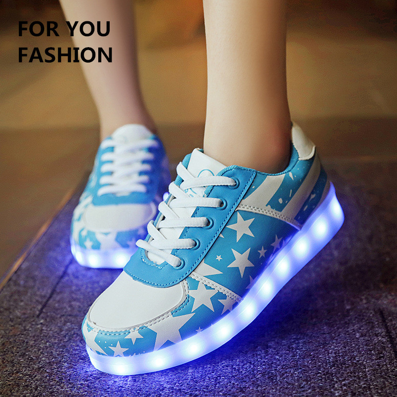 2016 men Colorful glowing shoes with lights up led luminous shoes print star style fashion led shoes for adult neon basket led