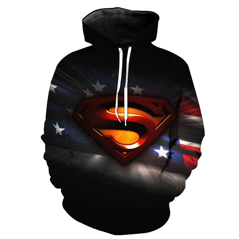 2018 New Fashion Sweatshirt Men / Women 3d Hoodies Print Wonder Superman film pattern Slim Unisex Slim Stylish Hooded Hoodies