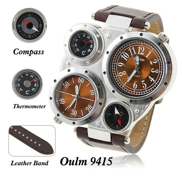 Wholesale Free Shiping Oulm 9415 Men Quartz Analog Military Watch with Dual Movt Numerals Indicate Time Dial Compass Thermometer