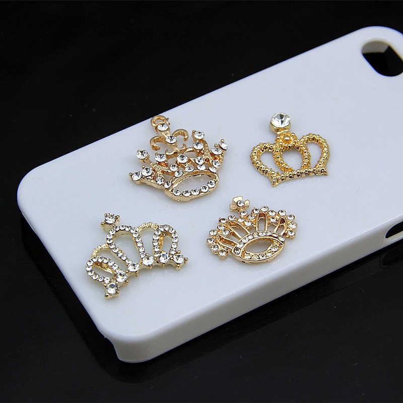 Colgantes de abalorios de Metal de corona de diamantes de imitación de perlas chapadas en oro para suministros de fabricación de joyas accesorios hechos a mano Diy