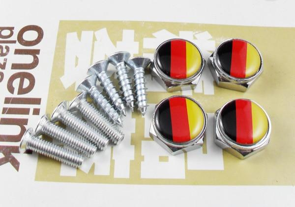 4 pcs Chrome Metal car LICENSE PLATE FRAME BOLT SCREWS for Germany flag niko 50pcs chrome single coil pickup screws