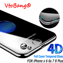 (New 3D) 4D Full Cover Tempered glass For iPhone 6 6s Plus Full Cover Screen Protector for iPhone 7/8 Plus 6 6S X Toughed Glass