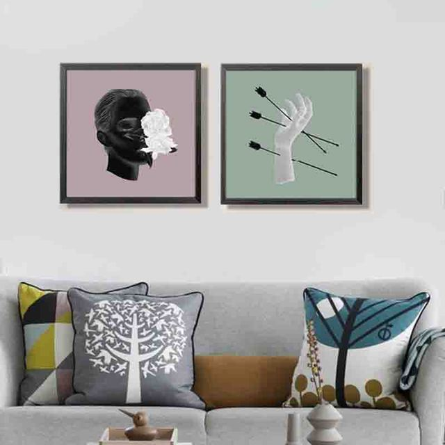 Creative Arrows Through Hand Man Head Aesthetic Craft Colorful Dot Art Canvas Painting Wall Posters For