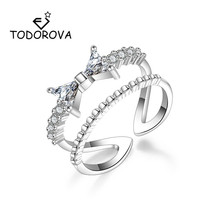 Todorova Fashion Double Layer Exquisite Bow Tie Engagement Rings for Women Sparkling AAA Cubic Zirconia Bowknot Wedding