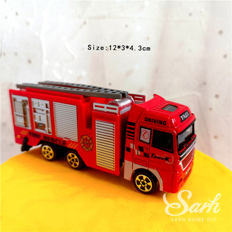 Image 5 - Fireman Set Fire Ladder Truck Decoration for Children's Day Water Tank Happy Birthday Cake Toppers Party Supplies Fashion Gifts-in Cake Decorating Supplies from Home & Garden