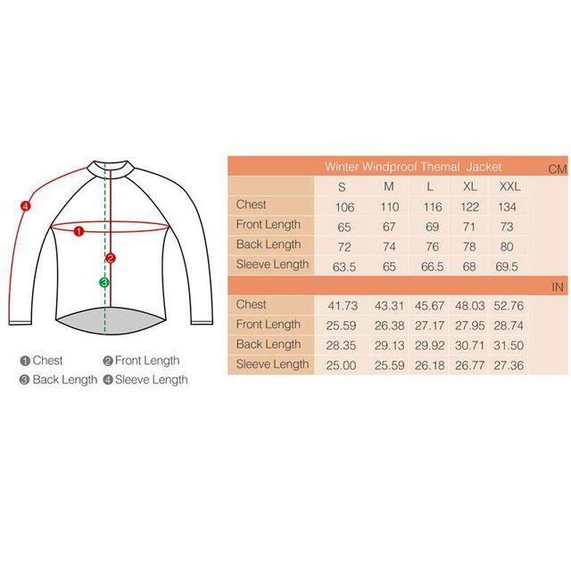 Men's Winter Windproof Cycling ThermalWarm Bicycle Sport Jacket