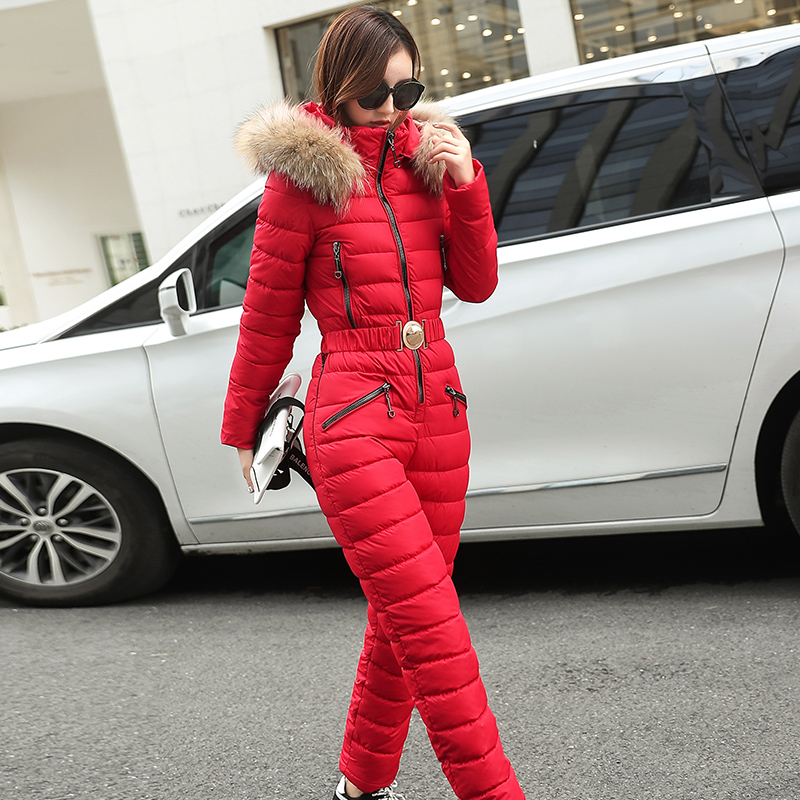 2018 New Women's winter new   parka   fashion slim onesies coat hooded real fur collar coat warm snow jacket with belt