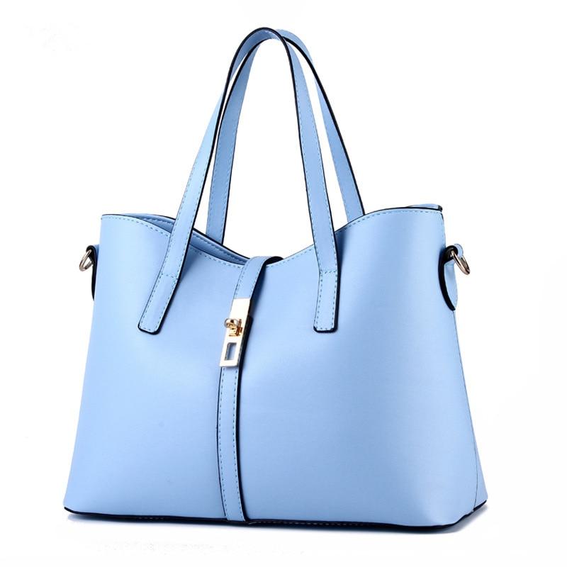 купить Light Blue Cusual PU Women Handbag Office Lady Shoulder Bag Lock Zipper Crossbody Messenger по цене 4147.63 рублей