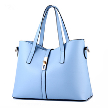 Light Blue Cusual PU Women Handbag Office Lady Shoulder Bag Lock Zipper Crossbody Messenger