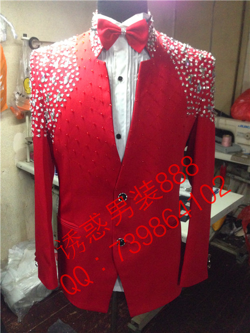 Fashion Men Rhinestone Light Red Slim Jacket Male Singer Dancer Formal Dress Red Customize Plus