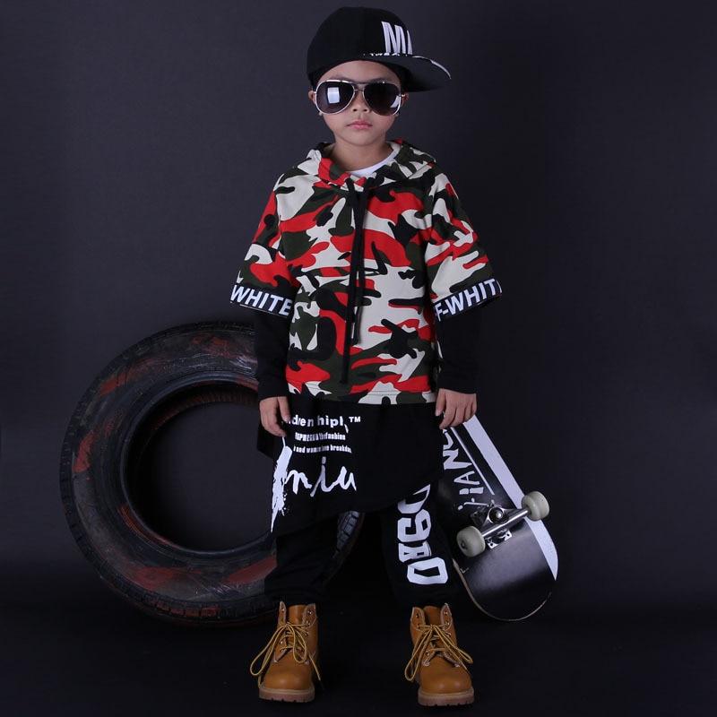 Fashion Cool Kids Set Unisex Costumes Colorful Camouflage Hip Hop Dance Hoody & Dress & Pants Kids 3pcs Set Tracksuits цена