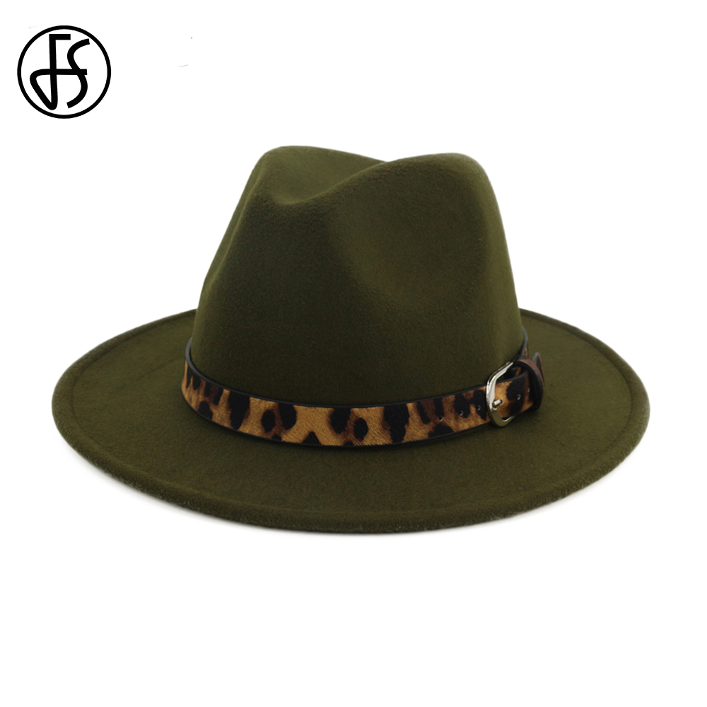FS Cotton Army Green Top Hat For Men Godfather Wide Brim Fedora Church Hats  Women Elegant Royal Round Cap With Leopard Belt Fall 40e7274738a6