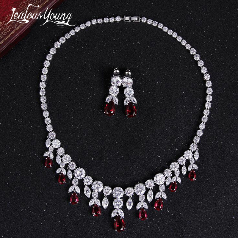Fashion Top Quality Cubic Zirconia Bridal Jewelry Sets White Gold Color Flower Necklace Earrings Sets Wedding Sieraden Set AS022 hibride luxury top quality white green water drop shape cubic zirconia jewelry sets white gold color necklace earrings n 057
