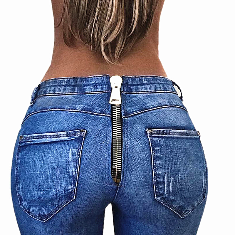 2018 Push Up Jeans For Women Zipper Back Jeans Pants Sexy -3219