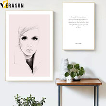 Black White Portrait of a Beautiful Women Wall Art Canvas Painting Nordic Posters And Prints Wall Pictures For Living Room Decor(China)