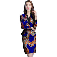Fashion Long Sleeve Blouse And Skirts Set Two Piece Suit Custom Made Plus Size Lady Party