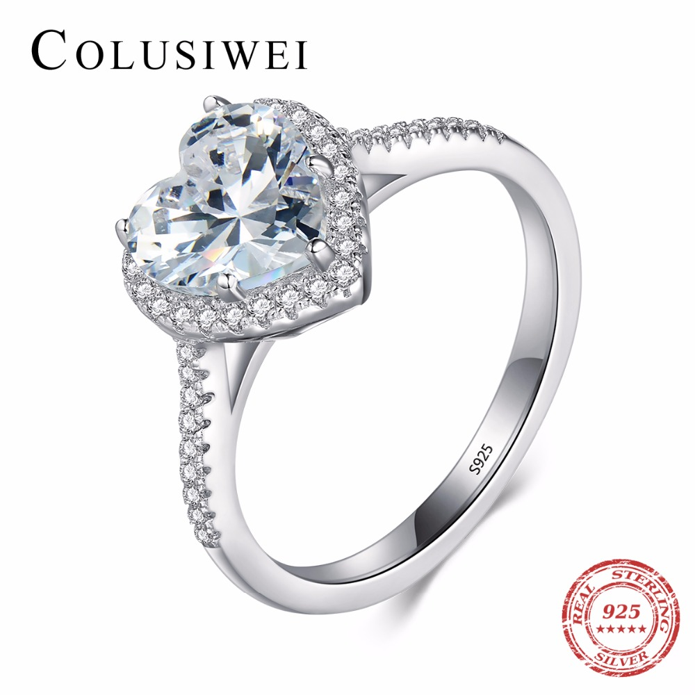 Heart shape 925 Soild Silver jewelry Ring AAAAA Level CZ wedding band Engagement Rings for women girls bijoux With Gift Box