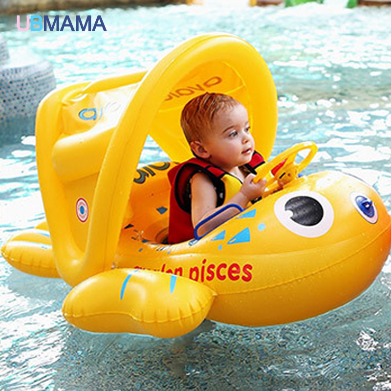 2016 Safety Baby Infant Swimming Float Inflatable Adjustable Sunshade Seat Boat Ring Swim Pool dual slide portable baby swimming pool pvc inflatable pool babies child eco friendly piscina transparent infant swimming pools
