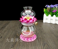 Buddhist wind proof lotus holder ceramic glass adjustable liquid shortening lamp for Buddha oil statues sculpture Home wedding