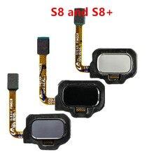 Piezas originales Sensor de huella digital botón de inicio Cable flexible para Samsung Galaxy S8 S8 + Plus SM G950 G955, negro de plata gris
