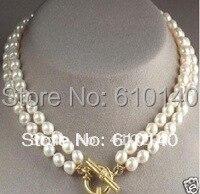 00004766 8-9 мм двойная нить НЕПОДДЕЛЬНАЯ белый жемчужное ожерелье#00199