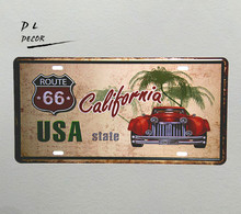 DL- USA STATE CALIFORNIA License plate vintage Metal Sign home decoration accessories wall sticker